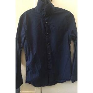Men's Navy Blue Express Long Sleeve Buttondown